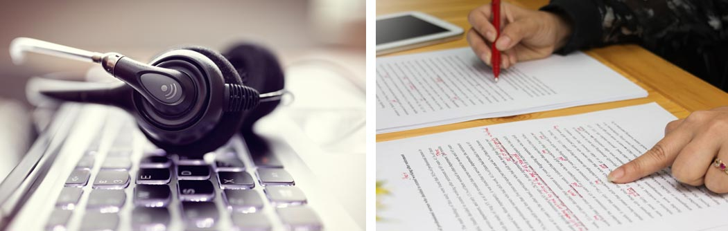 Four photograph collage: From left to right, profile of one of the partners wearing headphones; close-up of a German-Spanish dictionary page with the entry for Übersetzung/traducción; hands typing on a computer keyboard; part of a page from a style guide with editing symbols.